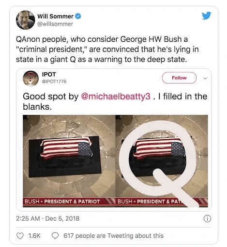 Bush is considered an enemy of Q, and this was seen as a message to the deep state, warning them about QAnon.