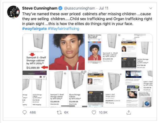 Wayfair must also be involved in the global child sex trafficking operations that QAnon is working to expose.