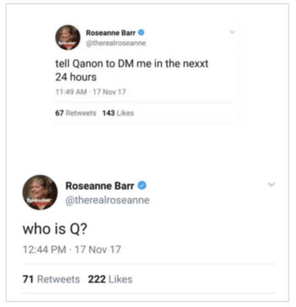 American actress Roseanne Barr tweets about QAnon, raising it's profile significantly. She continues sporadically tweeting about QAnon until Mar '18.