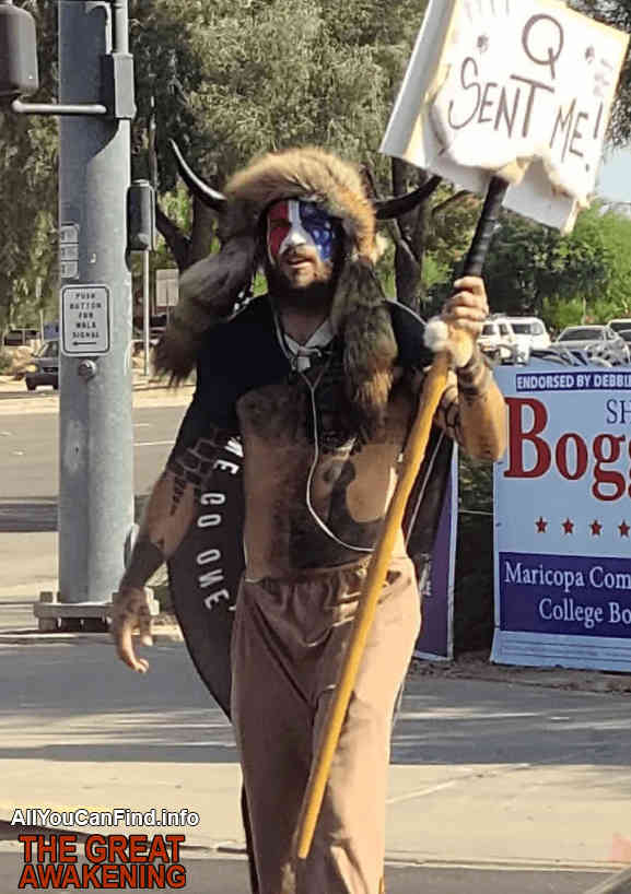 Jake Angeli – who drew huge attention after storming the Capitol building while topless, wearing a giant horned fur hat, and carrying a 6ft spear –